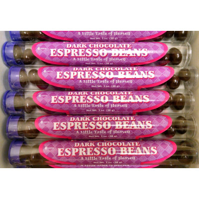 CIGAR TUBES, Dark Chocolate Covered Espresso Coffee Beans in 1 oz cigar tubes, 30 tubes per box
