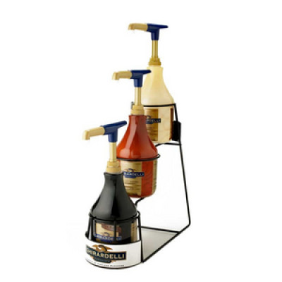 Ghirardelli Sauce Display Rack - Display Rack Holds 3 64oz. Plastic Bottles