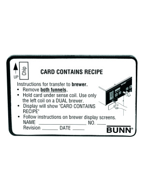 34447.0000 BUNN CARD ASSY,RECIPE TRANSFER(BRW)
